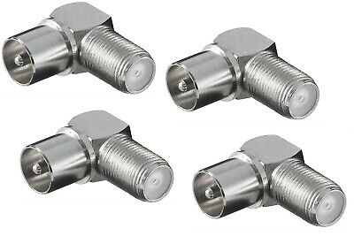 £3.50 • Buy 4 X 90 Degree Angled F Socket To Male Coax Plug Aerial Adaptor / Cable Convertor