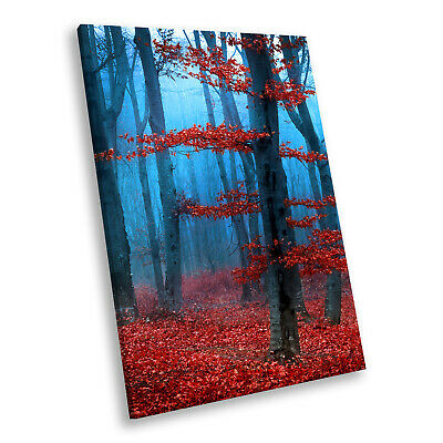 Red Blue Autumn Tree Nature Portrait Scenic Canvas Wall Art Large Picture Prints • 9.99£