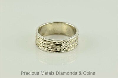 $47.50 • Buy Men`s Sterling Silver Rope Cable Twist 7.5mm Band Thumb Ring Sz: 9.5