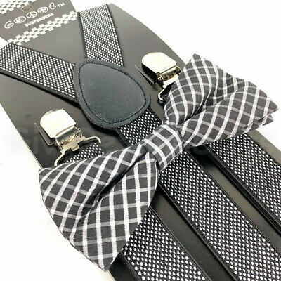 $8.98 • Buy Suspender And Bow Tie Adults Men Fancy Dotted Plaid Formal Wear Accessories