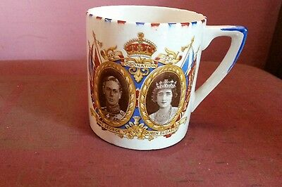 Parrot And Company Coronet Ware Comm  Mug King George V1 & Queen Elizabeth • 7£