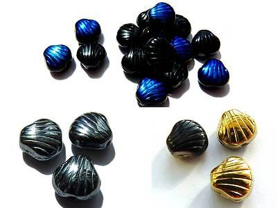 9 (mm) SCALLOP SHELL DROP CZECH GLASS BEADS FOR JEWELLERY MAKING - PACK OF 20  • 1.19£