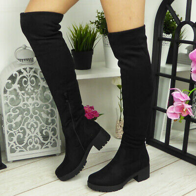 Womens Thigh High Boots Ladies Over The Knee Casual Office Mid Heel Shoes Size • 21.99£
