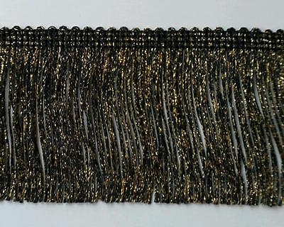 £10.82 • Buy 3  Metallic Chainette Fringe - Color: Black / Gold - 5 Continuous Yards!