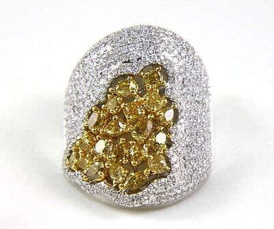 Canary Yellow Diamond Cluster Dome Cigar Ring Band 14k White Gold 4.16Ct • 3,701.98£