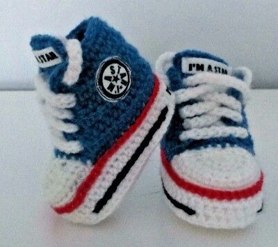 Baby Crochet Shoes Your Baby's Name Handmade Wool Trainers Sneakers • 4.80£