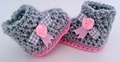 BABY Baby CROCHET HANDMADE SHOES BOOTS BOOTIES KNITTING FIRST SHOES • 4.80£