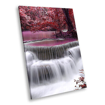 Portrait Scenic Photo Canvas Picture Print Wall Art Pink Waterfall Forest Nature • 14.99£