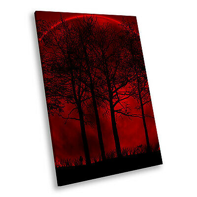 Portrait Scenic Photo Canvas Picture Print Wall Art Red Black Moon Trees Nature • 14.99£