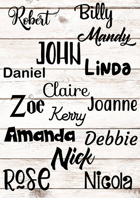 X10 Personalised Vinyl Name Sticker Decal For Gifts Crafts Glass Wedding Baubles • 4.08£