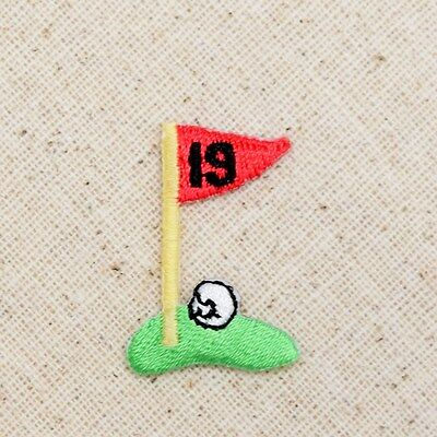 £3.63 • Buy Small/Mini 19th Hole Golf/Green/Red Flag/Ball Iron On Applique/Embroidered Patch