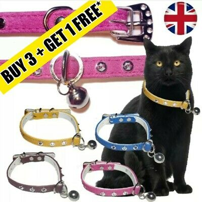 Diamante Rabbit Dog Studded Faux Leather Cat Buckle Tag Loop Collar With Bell UK • 2.99£