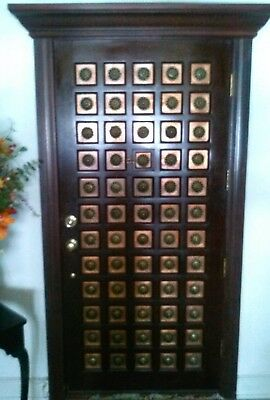 $2900 • Buy Architectual Salvage Brass And Copper Inlay  Mahogany Door 36in X 79.5 In