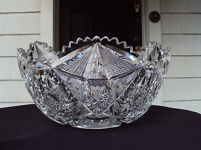Libbey Glass Co. American Brilliant Cut Glass Colonna 12  Punch Bowl C.1905 • 250$