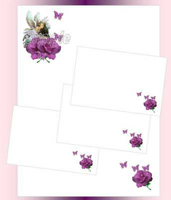 £3.75 • Buy Purple Rose Fairy Letter Writing Stationery Paper Set 10+5