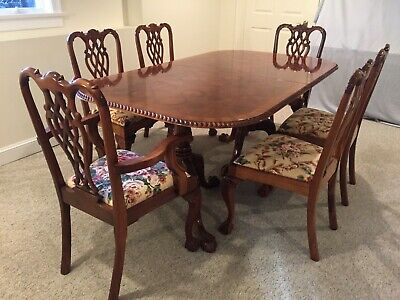 $2900 • Buy Mahogany Chippendale Dining Room Set  - 76  To 114  Table & 10 Chairs