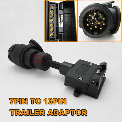 AU34.95 • Buy  7 Pin Flat Socket To 13 Pin Euro Round Plug Trailer Adaptor Caravan Connector