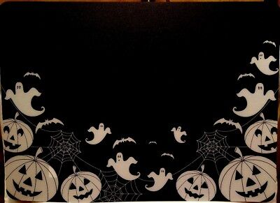 $2.99 • Buy Halloween Ghosts Pumpkins Bats Cobwebs Black White Poly Table Dining Placemats