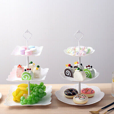 3 Layer Dessert Cup Cake Stand Afternoon Tea Party Wedding Plate Tableware UK • 8.59£