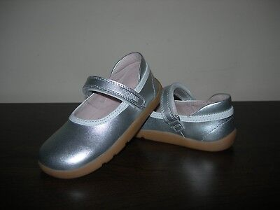 Bobux I-walk Girl's Infant Shoes Mary Janes Pumps Silver Leather Eu 24 / Uk 7 • 39.99£