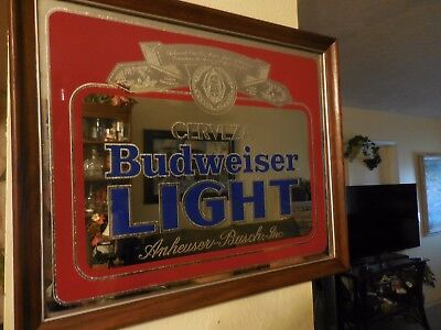 $ CDN147.06 • Buy Vintage CERVEZA BUDWEISER LIGHT Glass Mirror Beer Sign 801-204 1982 RARE
