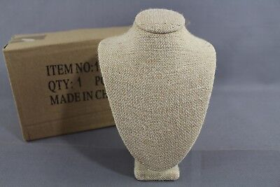 £7.26 • Buy Natural Burlap Jewelry Necklace Bust Display Stand Form 7 1/4  Tall