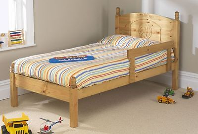 Solid Antique Pine 3ft Football Bed Frame Only Includes Guard Rail • 159£