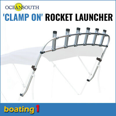AU158 • Buy Clamp On Fishing Rod Holder/Rocket Launcher 6 Rod Holders - Max Width 1.9m