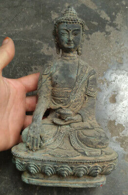 Tibetan Buddhism Shakyamuni Sit Buddha Bronze Antique Excellent Old Statue • 39£