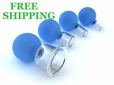 Set 4 Cups Anti-cellulite Cosmetic Cupping Massage Vacuum Glass Cups Facial Body • 28.21£