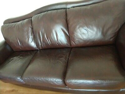£125 • Buy Black Leather 3 Seater Sofa With Foot Stool And Side Chair - 7 Year Old, Good C