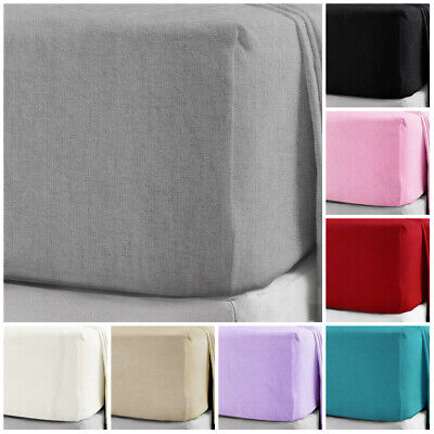 100% Brushed Cotton Flannelette Fitted Sheets SINGLE DOUBLE SUPER KING ALL SIZE • 12.49£