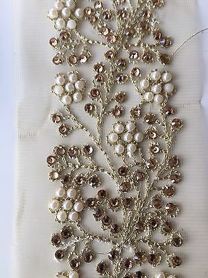 WIDE INDIAN PEARL & CRYSTAL FLOWERS ON GOLD NET RIBBON TRIM/LACE-Sold By MTR • 4.50£