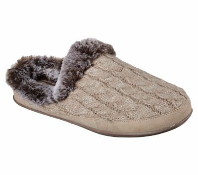 Skechers Women's Beach Bonfire Taupe Knit Slipper - Size 6/7 NWOB • 18.08£