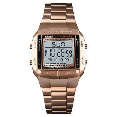 Mens Kids Digital Watch 5 Alarms Rose Gold With Stopwatch Light Countdown • 14.99£