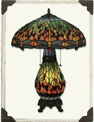 Victorian Trading Co Dragon Fly Tiffany Style Stained Glass Table Lamp • 277.35£