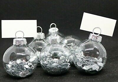 £6.25 • Buy Wedding Place Cards Table Names Bauble Silver Heart Set Of 6 Bride Groom Mr Mrs