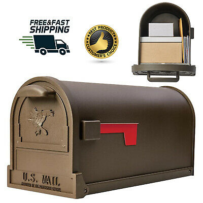 $68.64 • Buy Large Steel Mailbox Post Mount Galvanized Mail Box Metal Safe Mailboxes Classic