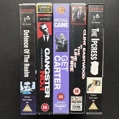 Defence Of The Realm , Gangster No 1 , Get Carter Etc  - 5 X VHS Videos UK GDA • 9.99£