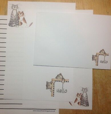 £3.75 • Buy New! Big Hello Playful Cats Letter Writing Paper Set With Matching Envelopes