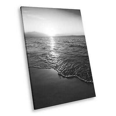 SC974 Black White Portrait Canvas Picture Print Large Wall Art Beach Sunset • 9.99£