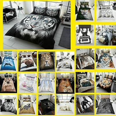 3D Animal Printed Duvet Cover Pillow Cases Quilt Bedding Set Single Double King • 17.98£