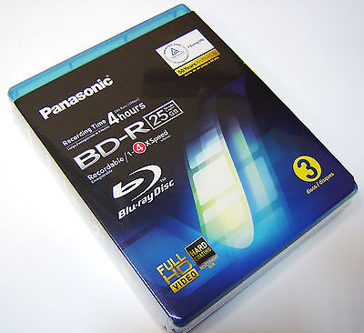 £12.90 • Buy 3 Discs Pack Panasonic BD-R 25GB 4h Blu Ray Recordable Writeable  Jewel Cases