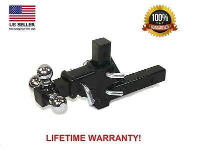 $80.99 • Buy 3 Ball Adjustable Vertical Travel Solid Raise Drop Tri-Ball Tow Hitch Mount 2