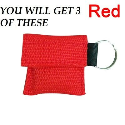 £7.99 • Buy CPR Resuscitation Face Shield In Key Ring Pouch 3 Pieces UK SELLER FREE POSTAGE