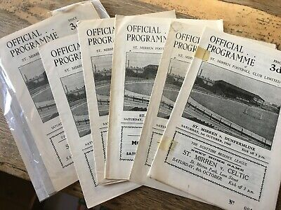 St Mirren HOME Programmes 1950s, 1960s And 1970s Choose From List  • 0.99£