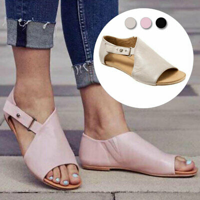 Women Lady Gladiator Casual Sandals Open Toes Summer Beach Flats Shoes Size 4-6 • 10.46£