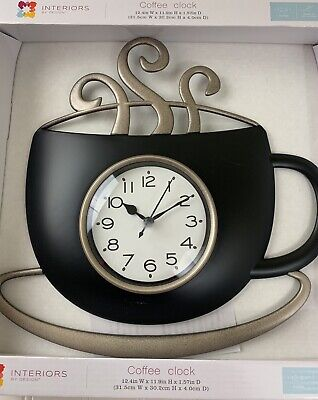 NEW INTERIORS By DESIGN BLACK Coffee Cup U0026 Saucer Steam Wall Clock Kitchen  Decor U2022 15.88