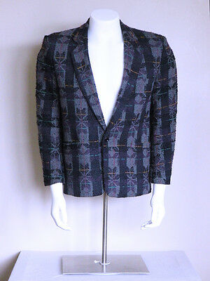$ CDN100.22 • Buy Vtg 80s Darkwave Bauhaus Tribal Club Kid VAPORWAVE Goth CYBERPUNK Blazer Jacket