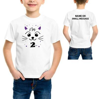 £7.95 • Buy Cat Face T-Shirt 2 3 4 5 6 7 8 9 10 11 12 13 Years Old Birthday Personalised